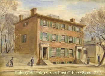 Illustration of York's Fourth Post Office on Duke Street, 1830's.